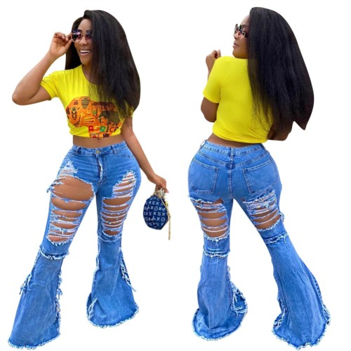 Sexy Blue Bell Bottom Ripped Jeans