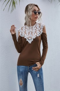 Autumn Lace Upper O-Neck Cut Out Sexy Shirt