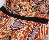 Vestido skater plisado con estampado retro elegante