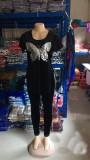 Ensemble de chemise et pantalon fente papillon à paillettes matures de grande taille