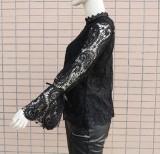 Camisa de encaje negro de otoño con mangas ahuecadas