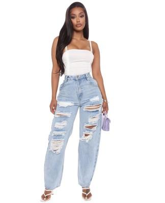 Jeans larghi strappati a vita alta azzurri