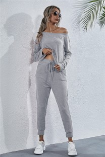 Autumn Casual Solid Plain Shirt and Pants Set