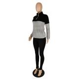 Conjunto de top y leggings sólidos de polar en contraste de invierno
