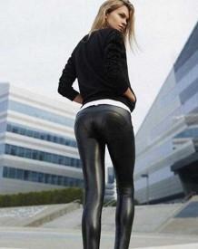 Legging en cuir sexy noir d'hiver