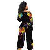 Otoño Casual Paints Crop Top y conjunto de pantalones sueltos