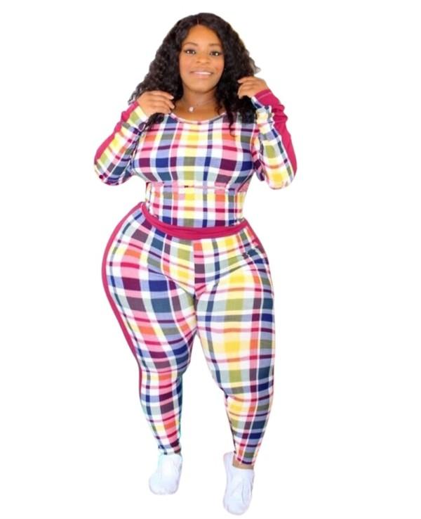 Plus Size Herbst Sexy Tight Plaid Shirt und Hosen Set