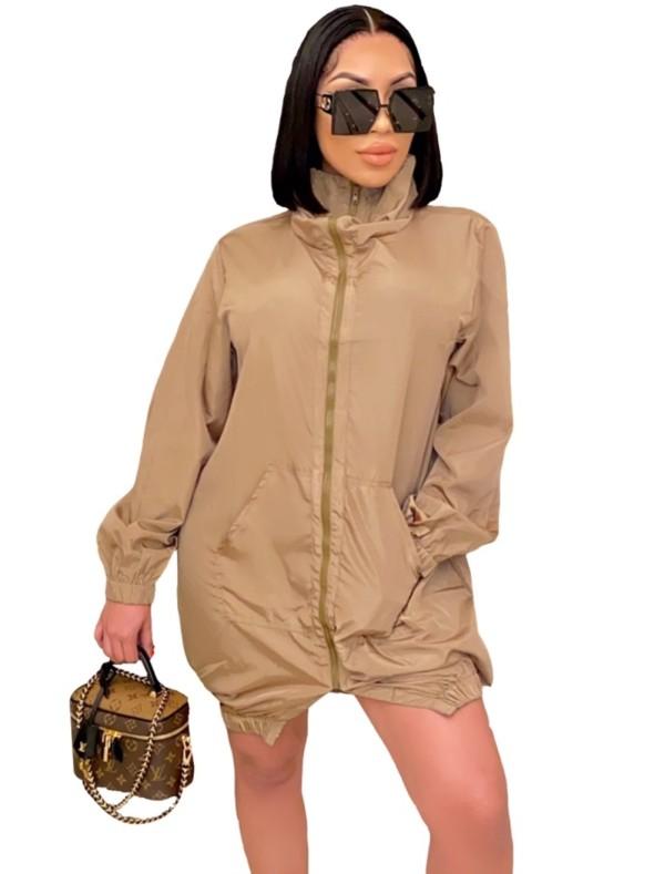 Vestido de chaqueta con cremallera liso liso de otoño