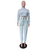 Conjunto de pantalones de chándal y top corto anudado liso de otoño