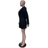 Herbst Elegant Schwarz Plissee Blazer Kleid