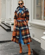 Winter Street Style Colorful Plaid Long Coat