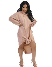 Autumn Solid Plain Long Hoodie Dress