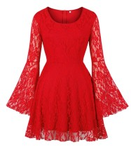 Autumn Red Lace Party Skater Dress with Wide Cuffs