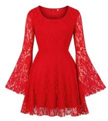 Robe patineuse en dentelle rouge d'automne avec poignets larges