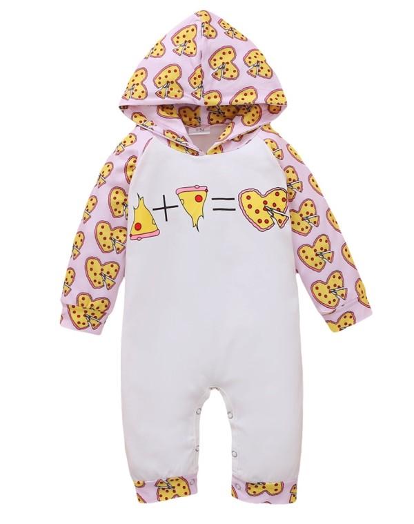 Barboteuse à capuche imprimé automne bébé fille