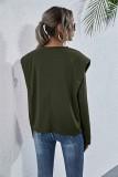 Camisa suelta con cuello en O liso liso de otoño