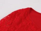 Herbst Red Lace Party Skater Kleid mit breiten Manschetten