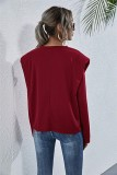 Chemise ample unie unie à col rond d'automne