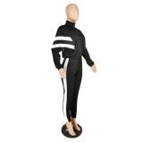 Herbst schwarz Workout Stripes Jogger Anzug