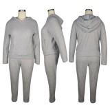 Sweat à capuche en peluche de couleur unie à deux pièces assorti pour l'hiver