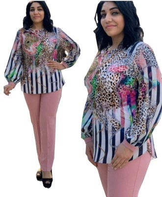 Plus Size Mother Mature Leopard Blouse and Solid Pants Set
