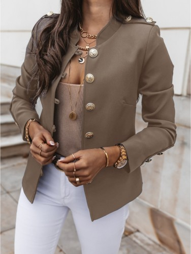 Herbst Solid Plain Button Up Retro Jacke