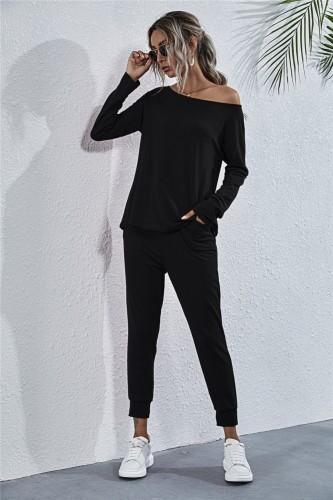 Herbst Casual Solid Plain Shirt und Hosen Set