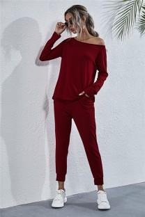 Conjunto de camisa y pantalón liso liso casual de otoño