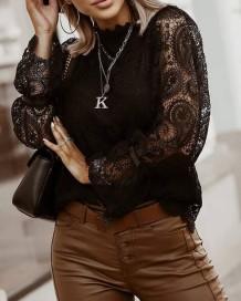 Herfst zwart kanten overhemd met uitgeholde mouwen