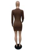 Herbstliches geripptes Mini-Bodycon-Kleid mit O-Ausschnitt