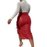Falda midi de cuero con abertura de cintura alta de otoño