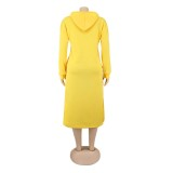 Otoño sólido liso vestido largo con capucha
