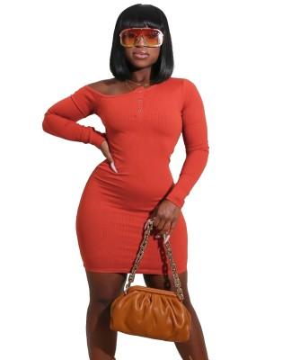 Autumn O-Neck Button Up Ribbed Bodycon Dress