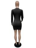 Mini vestido ajustado acanalado con cuello en O de otoño