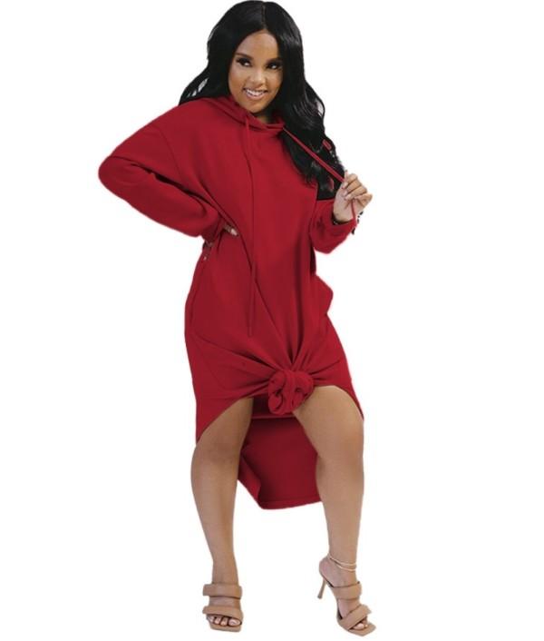 Herbst Solid Plain Long Hoodie Kleid