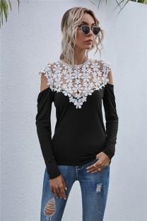 Camisa sexy con cuello en V superior de encaje de otoño