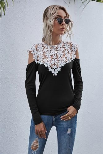 Autumn Lace Upper O-Neck ausgeschnitten Sexy Shirt