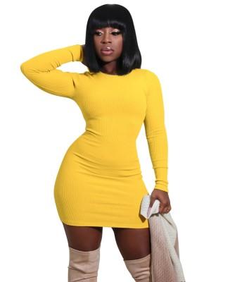 Autumn O-Neck Ribbed Mini Bodycon Dress