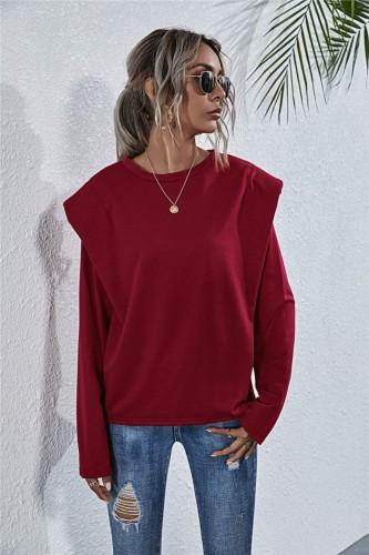 Herbstliches, festes, schlichtes, lockeres Hemd mit O-Ausschnitt
