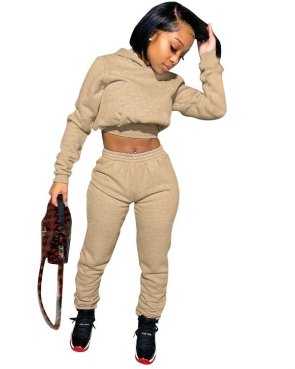 Autumn Solid Plain Crop Top und Hosen Hoodie Sweatsuit