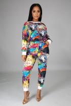 Conjunto de camisa y pantalón casual con estampado de pinturas de otoño