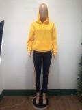 Autumn Casual Blank Hoodie Top und Streifen Hosen Set