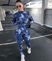 Sonbahar Partisi Seksi Batik Mavi Bodycon Tulum