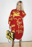 Robe chemise longue col rond imprimé automne