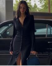 Sonbahar Siyah Zarif Düğmeli Uzun Elbise