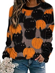 Autumn Halloween Print Round Neck Shirt
