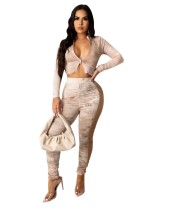 Autumn Party Sexy Tie Dye Zipper Crop Top and Ruched Pants Set