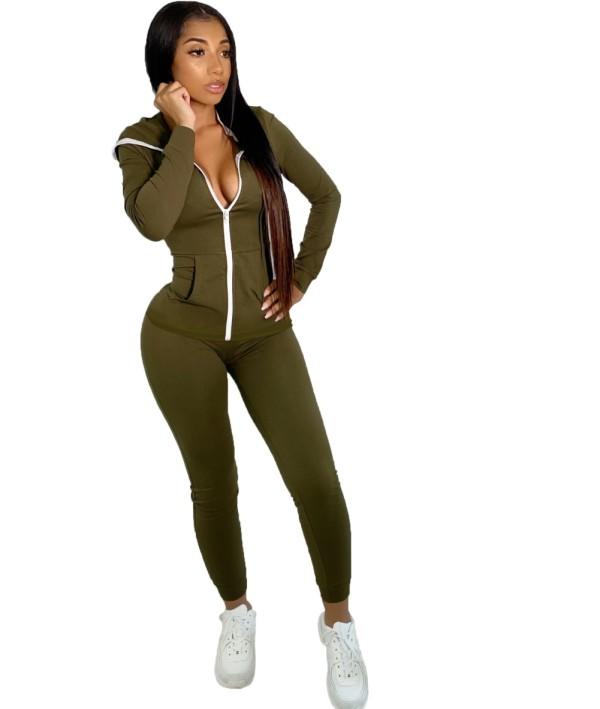 Autumn Solid Plain Fitted Hoodie Trainingsanzug