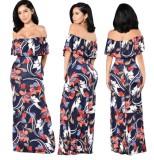 Vestido de noche largo floral con hombros descubiertos de verano