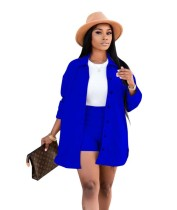 Autumn Casual Solid Plain Blouse and Shorts Set